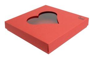 Pudełko na kartkę kwadratową z sercem czerwone matowe - GoatBox